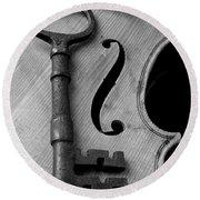 Skeleton Key On Violin Round Beach Towel by Garry Gay
