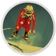 Round Beach Towel featuring the photograph Skiing In Crans Montana by Travel Pics