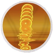 Slices Orange Citrus Fruit Round Beach Towel by David French