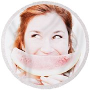 Smiling Summer Snack Round Beach Towel by Jorgo Photography - Wall Art Gallery