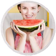 Smiling Young Woman Eating Fresh Fruit Watermelon Round Beach Towel by Jorgo Photography - Wall Art Gallery
