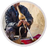 Snake Charmer Round Beach Towel by Inge Johnsson