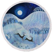 Snowy Peace Round Beach Towel by Lisa Graa Jensen