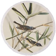 Solitary Flycatcher Or Vireo Round Beach Towel by John James Audubon