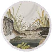 Solitary Sandpiper Round Beach Towel by John James Audubon
