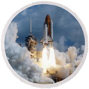 Space Shuttle Launching Round Beach Towel by Stocktrek Images