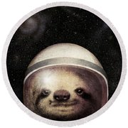 Space Sloth Round Beach Towel by Eric Fan