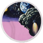 Space Round Beach Towel by Wilf Hardy