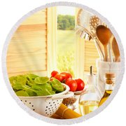 Spaghetti And Tomatoes In Country Kitchen Round Beach Towel by Amanda Elwell