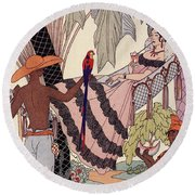Spanish Lady In Hammock With Parrot Round Beach Towel by Georges Barbier