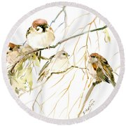 Sparrows Round Beach Towel by Suren Nersisyan