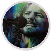 Eddie Vedder - ' Spectrum Of Vedder ' Round Beach Towel by Christian Chapman Art
