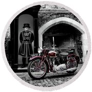 Speed Twin At The Tower Round Beach Towel by Mark Rogan