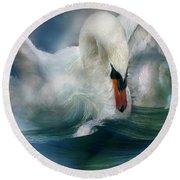 Spirit Of The Swan Round Beach Towel by Carol Cavalaris