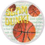 Sports Fan Basketball Round Beach Towel by Debbie DeWitt