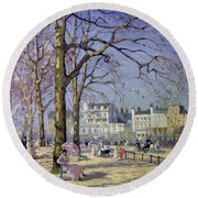 Spring In Hyde Park Round Beach Towel by Alice Taite Fanner