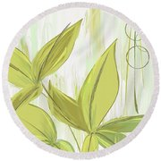 Spring Shades - Muted Green Art Round Beach Towel by Lourry Legarde