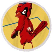 St. Louis Cardinals Vintage 1956 Program Round Beach Towel by Big 88 Artworks