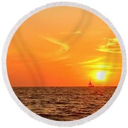 St. Pete Beach Sunset Round Beach Towel by Sandy Taylor
