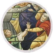 Stained Glass In St Mark's  The Taking Of Christ  Round Beach Towel by Joseph Manning