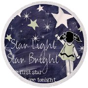Star Light Star Bright Chalk Board Nursery Rhyme Round Beach Towel by Mindy Sommers