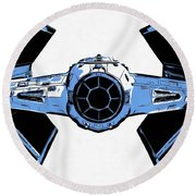 Star Wars Tie Fighter Advanced X1 Round Beach Towel by Edward Fielding