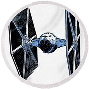 Star Wars Tie Fighter Round Beach Towel by Edward Fielding