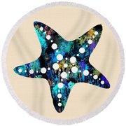 Starfish  Round Beach Towel by Prar Kulasekara