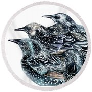 Starlings Round Beach Towel by Marie Burke
