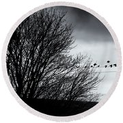 Starlings Roost Round Beach Towel by Philip Openshaw