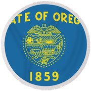 State Flag Of Oregon Round Beach Towel by American School
