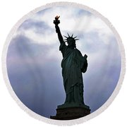 Statue Of Liberty May 2016 Round Beach Towel by Sandy Taylor