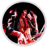Steven Tyler And Joe Perry Round Beach Towel by Debbie Oppermann
