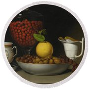 Still Life   Strawberries, Nuts Round Beach Towel by Raphaelle Peale
