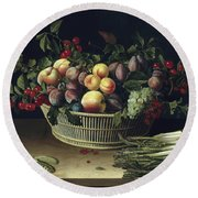 Still Life With A Basket Of Fruit And A Bunch Of Asparagus Round Beach Towel by Louise Moillon