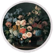 Still Life With Basket Of Flowers Round Beach Towel by Jean-Baptiste Monnoyer