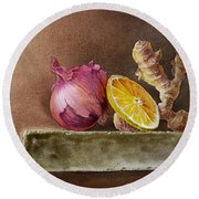Still Life With Onion Lemon And Ginger Round Beach Towel by Irina Sztukowski