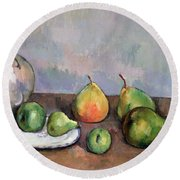 Still Life With Pitcher And Fruit Round Beach Towel by Paul Cezanne