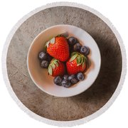 Strawberries And Blueberries Round Beach Towel by Scott Norris