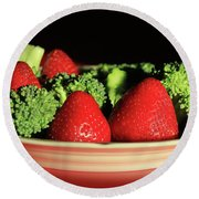 Strawberries And Broccoli Round Beach Towel by Lori Deiter