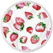 Strawberries Round Beach Towel by Varpu Kronholm