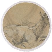 Study Of A Goat Round Beach Towel by Thomas Gainsborough
