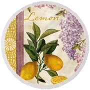 Summer Citrus Lemon Round Beach Towel by Mindy Sommers