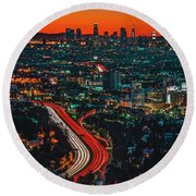 Sunrise In Hollywood Round Beach Towel by Art K