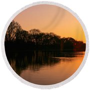Sunset On The Washington Monument & Round Beach Towel by Panoramic Images