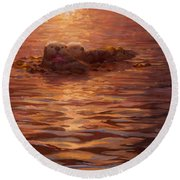 Sunset Snuggle - Sea Otters Floating With Kelp At Dusk Round Beach Towel by Karen Whitworth