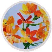 Round Beach Towel featuring the painting Sunstar by Rodney Campbell