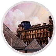 Surreal Louvre Museum Pyramid Watercolor Paintings - Paris Louvre Museum Art Round Beach Towel by Kathy Fornal