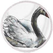 Swan Round Beach Towel by Mark Adlington