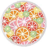 Sweet And Sour Citrus Print Round Beach Towel by Lauren Amelia Hughes